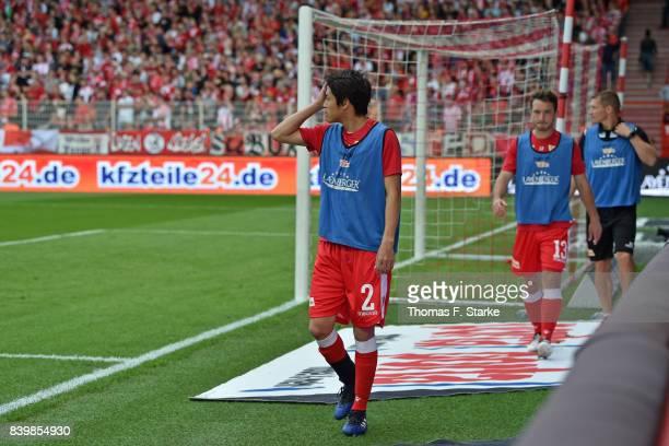 Atsuto Uchida of Berlin stops warming up during the Second Bundesliga match between 1 FC Union Berlin and DSC Arminia Bielefeld at Stadion An der...