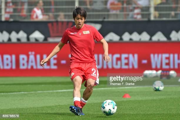 Atsuto Uchida of Berlin warms up prior to the Second Bundesliga match between 1 FC Union Berlin and DSC Arminia Bielefeld at Stadion An der Alten...