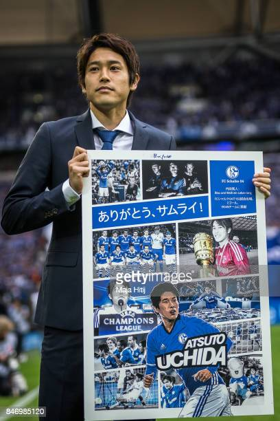 Atsuto Uchida of Japan during goodbye ceremony prior the Bundesliga match between FC Schalke 04 and VfB Stuttgart at VeltinsArena on September 10...