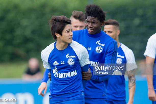 Atsuto Uchida of Schalke and Breel Embolo of Schalke during a training session at the FC Schalke 04 Training center on July 5 2017 in Gelsenkirchen...