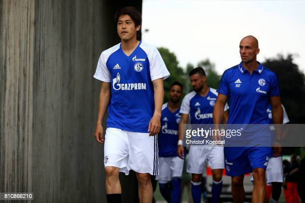 Atsuto Uchida of Schalke is seen prior to the preseason friendly match between SpVgg Erkenschwick and FC Schalke 04 at Stimberg Stadium on July 8...