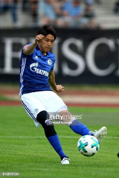 Atsuto Uchida of Schalke scores the forth goal during the preseason friendly match between SpVgg Erkenschwick and FC Schalke 04 at Stimberg Stadium...