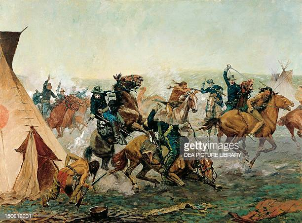 Attack of the Seventh Cavalry commanded by General Custer at the Cheyenne camp on the Washita River at dawn November 27 painting by Charles...