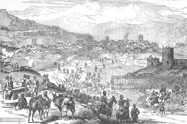 Attack on an Afreedi Town' circa 1880 Episode of the AngloZulu War From British Battles on Land and Sea Vol IV by James Grant [Cassell Petter Galpin...