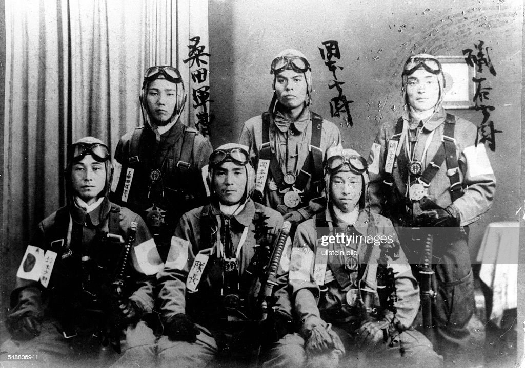 Attack on Pearl Harbor by the Imperial Japanese Navy on December 7 1941 Group picture of Japanese bomber pilots December 1941 Vintage property of...