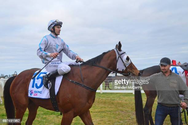 Attack the Line ridden by Luke Currie returns to the mounting yard after winning the Mogas Regional BM58 Handicap at Donald Racecourse on June 19...