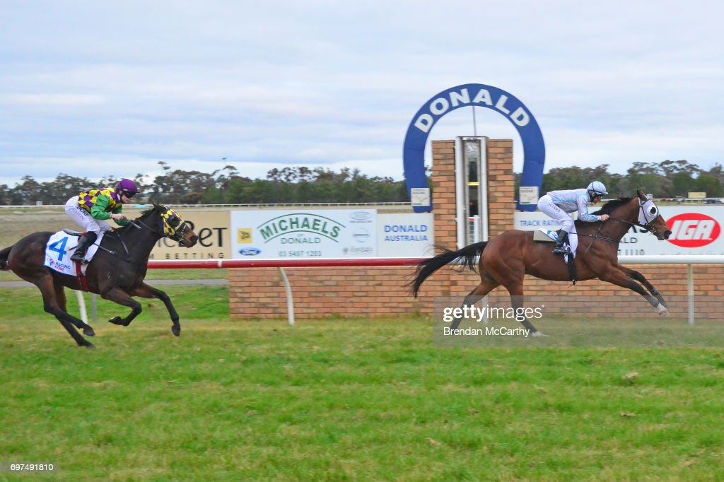 Attack the Line ridden by Luke Currie wins the Mogas Regional BM58 Handicap at Donald Racecourse on June 19, 2017 in Donald, Australia.