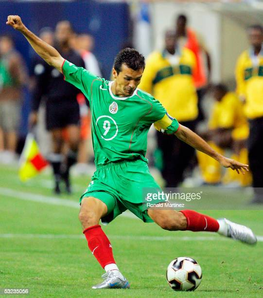 Attacker Jared Borgetti of Mexico moves the ball against Jamaica during qualifying of the CONCACAF World Cup on July 13 2005 at Reliant Stadium in...
