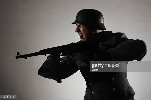 attacking german soldier