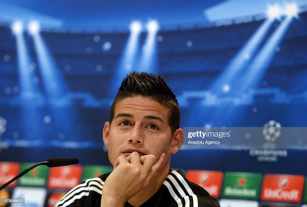 Attacking midfielder James Rodriguez of Real Madrid holds a press conference after the team training session ahead of the UEFA Champions League Semi Final, Second Leg against Juventus at Valdebebas training ground on May 12, 2015 in Madrid, Spain.
