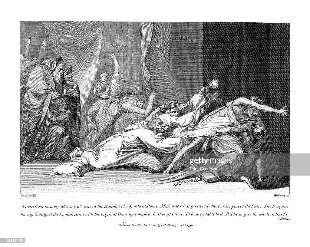 Attempt to exorcise evil spirits possessing a patient in San Spirito Hospital Rome 1792 Illustration based on Johann Kaspar Lavater's description...