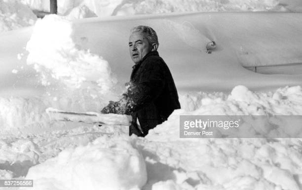 Attempting 6 make room for his two cars along the street Ed Morrell 1060 Steele St throws piles of snow in a large heap along the curb Credit The...
