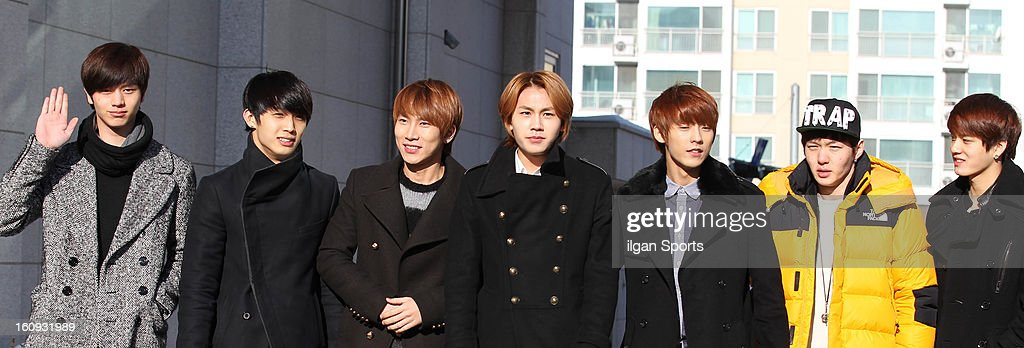 BTOB attend Il-Hoon's high school graduation at Hanlim Multi Art School on February 7, 2013 in Seoul, South Korea.