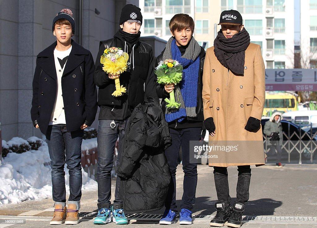 P attend Jong-Up's high school graduation at Hanlim Multi Art School on February 7, 2013 in Seoul, South Korea.