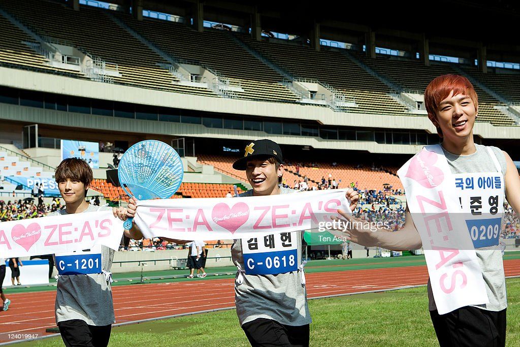 A attend the 3rd Idol stars track and field championship at the Jamsil Stadium on August 27, 2011 in Seoul, South Korea.