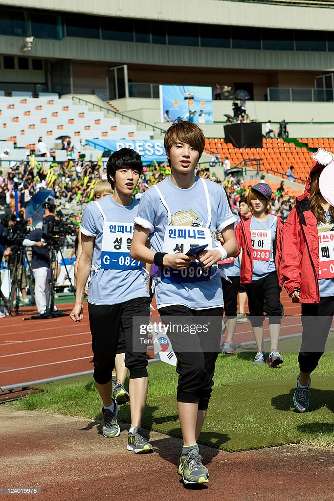 INFINITE attend the 3rd Idol stars track and field championship at the Jamsil Stadium on August 27, 2011 in Seoul, South Korea.