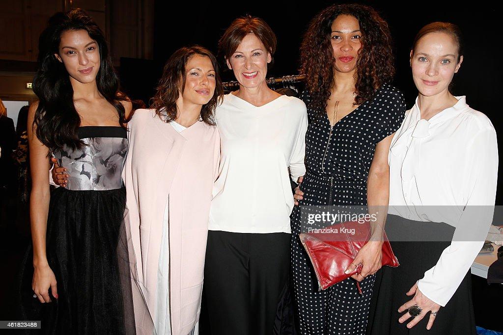 attend the Minx by Eva Lutz show during the MercedesBenz Fashion Week Berlin Autumn/Winter 2015/16 at Brandenburg Gate on January 20 2015 in Berlin...