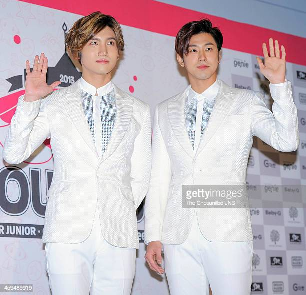 TVXQ attend the SMTOWN WEEK 'Time Slip' press conference at KINTEX on December 26 2013 in Ilsan South Korea