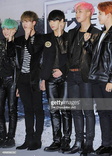 BTS attend their concert press conference at Olympic Park on November 27 2015 in Seoul South Korea