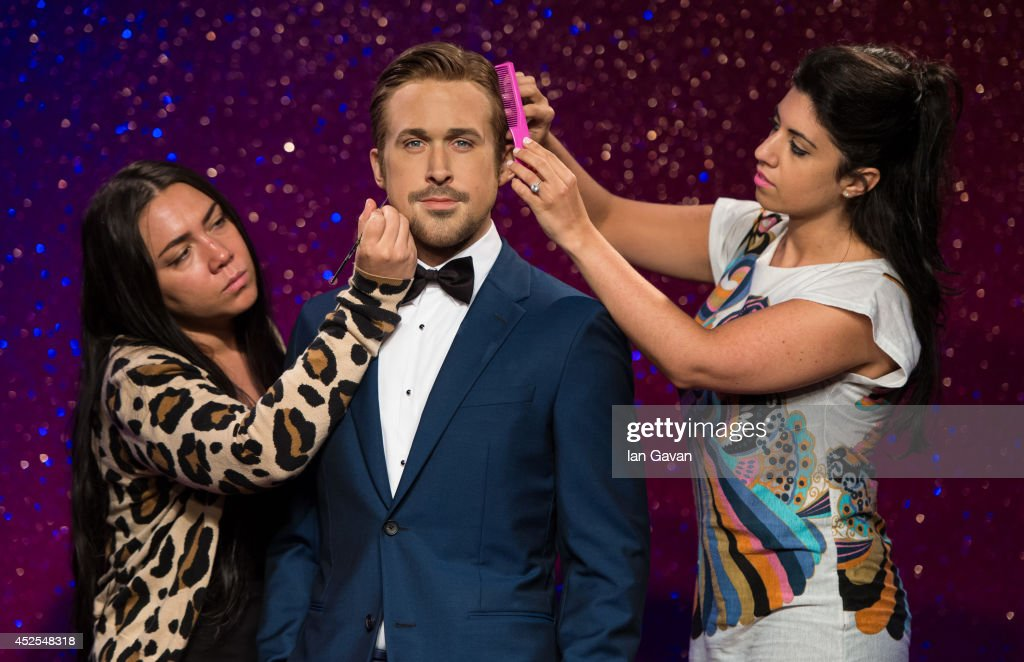 Attendants complete finishing touches as Tussauds unveil their new Ryan Gosling wax figure at Madame Tussauds on July 23 2014 in London England