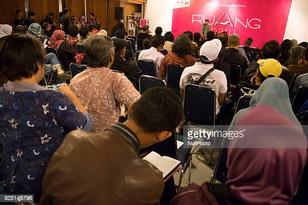 Attended people listening to Professor Sapardi Indonesian art observer on his opening speech exhibition Indonesia National Gallery at Jakarta held an...