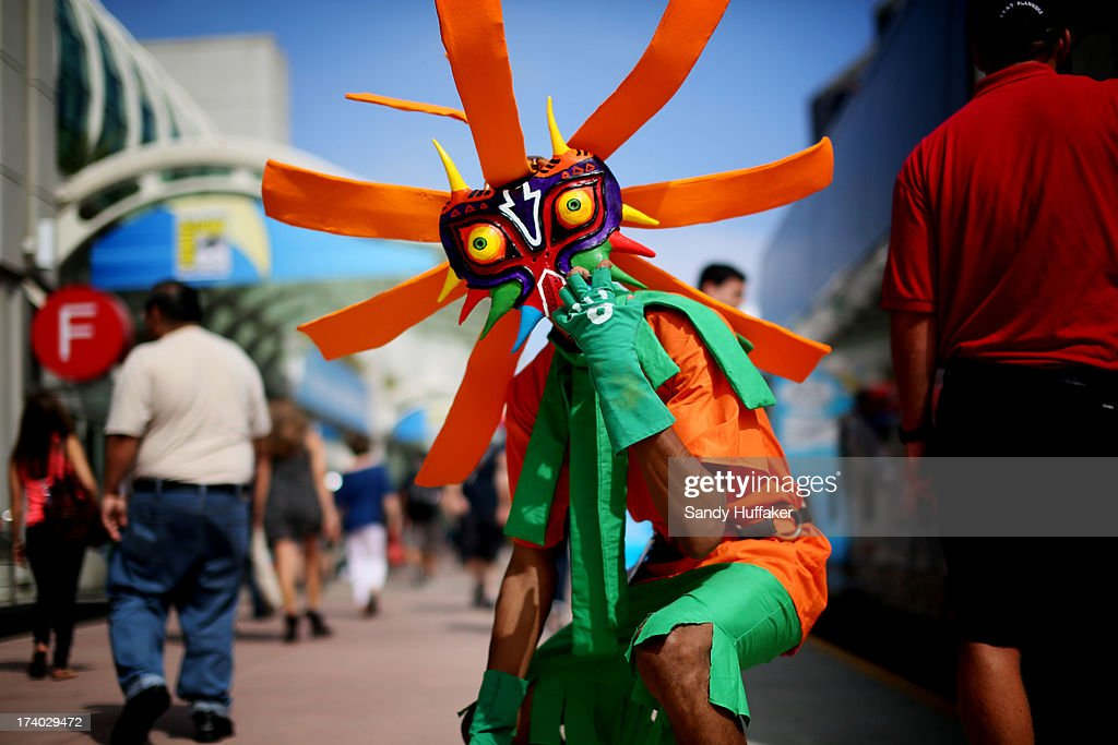 Attendee Anthony Knight dresses as Skull Kid from Legends of Zelda at Comic Con at the San Diego Convention Center on July 19, 2013 in San Diego, California. Comic Con International Convention is the world's largest comic and entertainment event and hosts celebrity movie panels, a trade floor with comic book, science fiction and action film-related booths, as well as artist workshops and movie premieres.