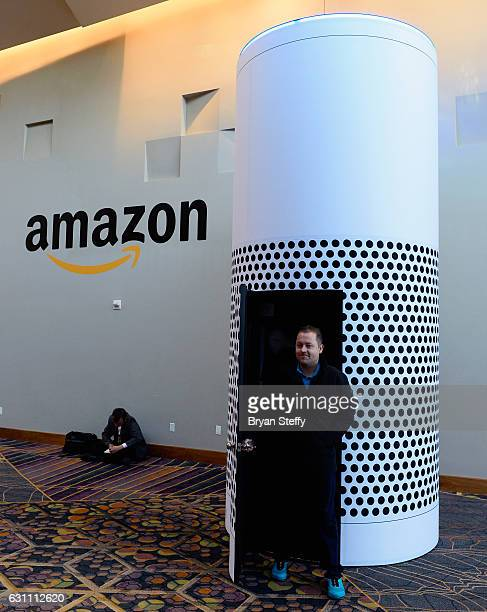 A attendee exits an Amazon Echo activation that is displayed at the Aria Resort Casino on January 6 2017 in Las Vegas Nevada CES the world's largest...