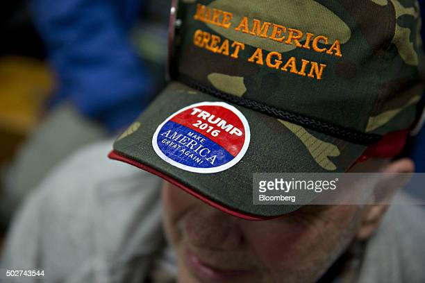 Attendee Rich Travers wears a 'Make America Great Again' hat before Donald Trump president and chief executive of Trump Organization Inc and 2016...