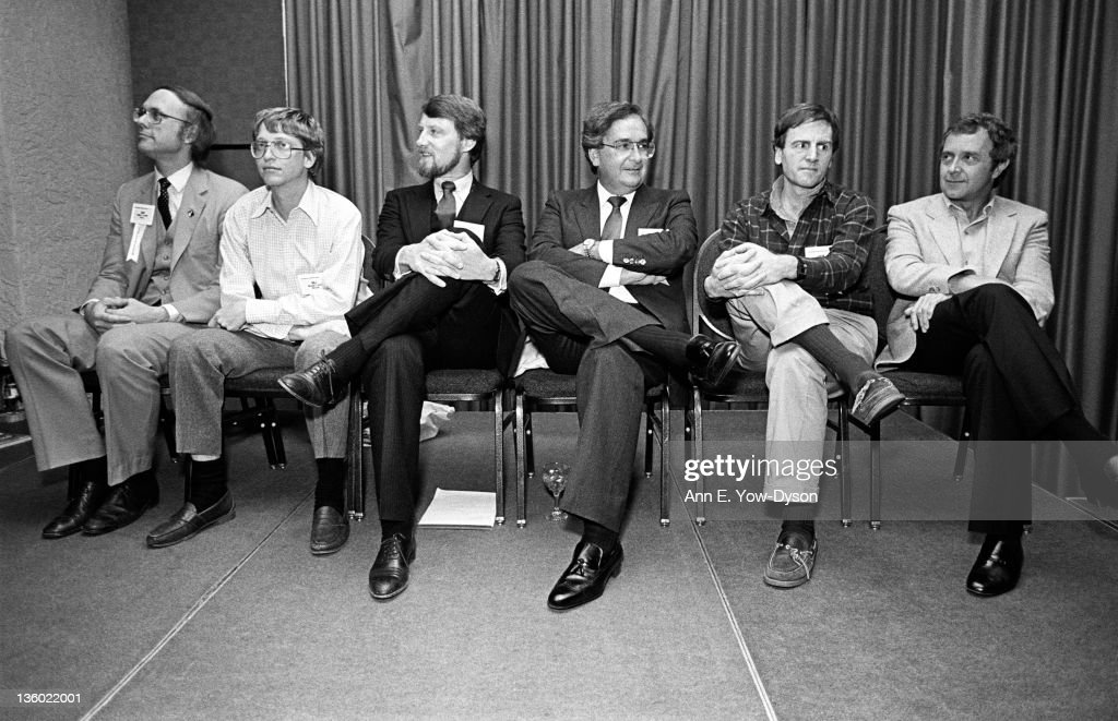 Attendees at the annual PC Forum's Pioneers and Neophytes Dinner, Phoenix, Arizona, February 5-8, 1984. Pictured are, from left: Daniel Fylstra, from VisiCorp/Frontline Systems, <a gi-track='captionPersonalityLinkClicked' href=/galleries/search?phrase=Bill+Gates&family=editorial&specificpeople=202049 ng-click='$event.stopPropagation()'>Bill Gates</a>, from Microsoft, Gary Kildall, from Digital Research, Finis Conner, from Seagate/StorCard, John Sculley, from Apple Computer/Rho Ventures, and David Jackson, from Altos Computer Systems.