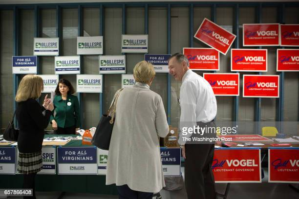 Attendees browse candidate tables at the Fairfax County Republican Committee Straw Poll Candidate Forum at Robinson Secondary School in Fairfax VA...