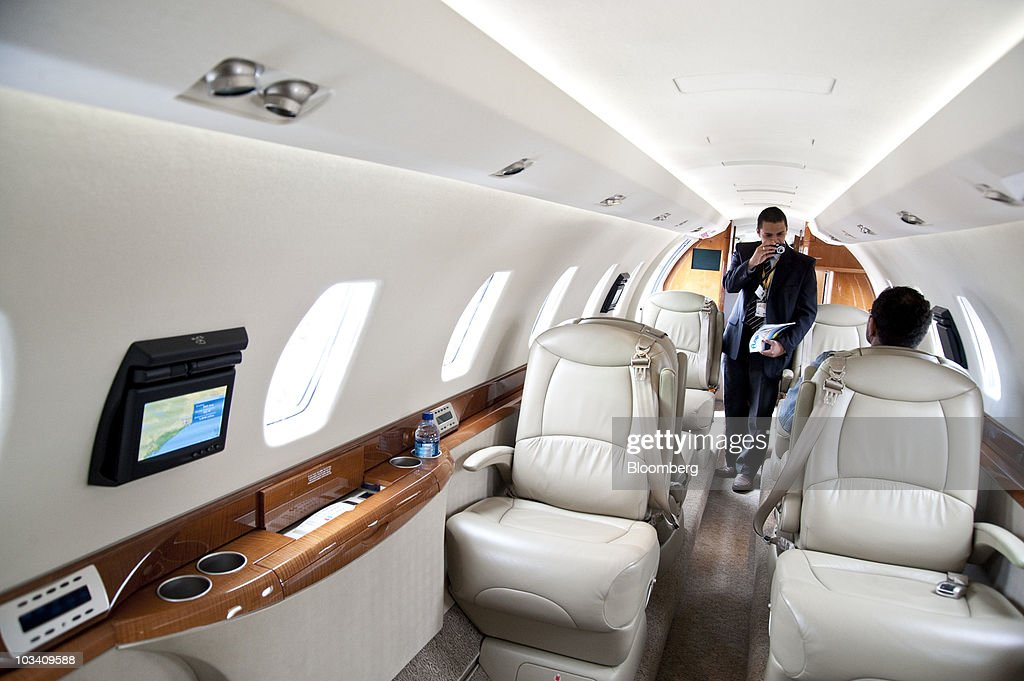 Attendees Check Out The Interior Of A Cessna Aircraft Co Citation X