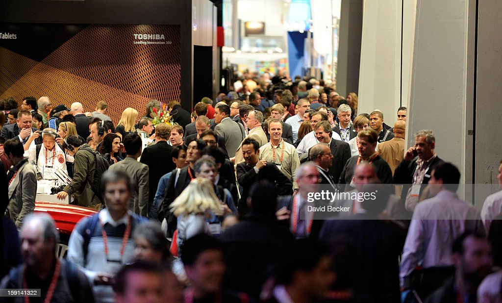 Attendees crowd the hallways between vendor's booths at the 2013 International CES at the Las Vegas Convention Center on January 8, 2013 in Las Vegas, Nevada. CES, the world's largest annual consumer technology trade show, runs through January 11 and is expected to feature 3,100 exhibitors showing off their latest products and services to about 150,000 attendees.