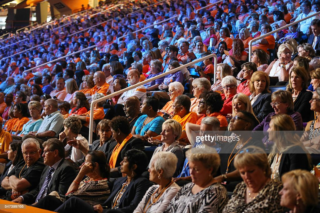 Attendees during the Pat Summitt Celebration of Life at ThompsonBoling Arena on July 14 2016 in Knoxville Tennessee Summitt died June 28 at the age...