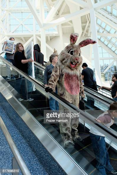 Attendees engage in cosplay and wearing costumes during WonderCon 2016 Day 2 at Los Angeles Convention Center on March 25 2016 in Los Angeles...