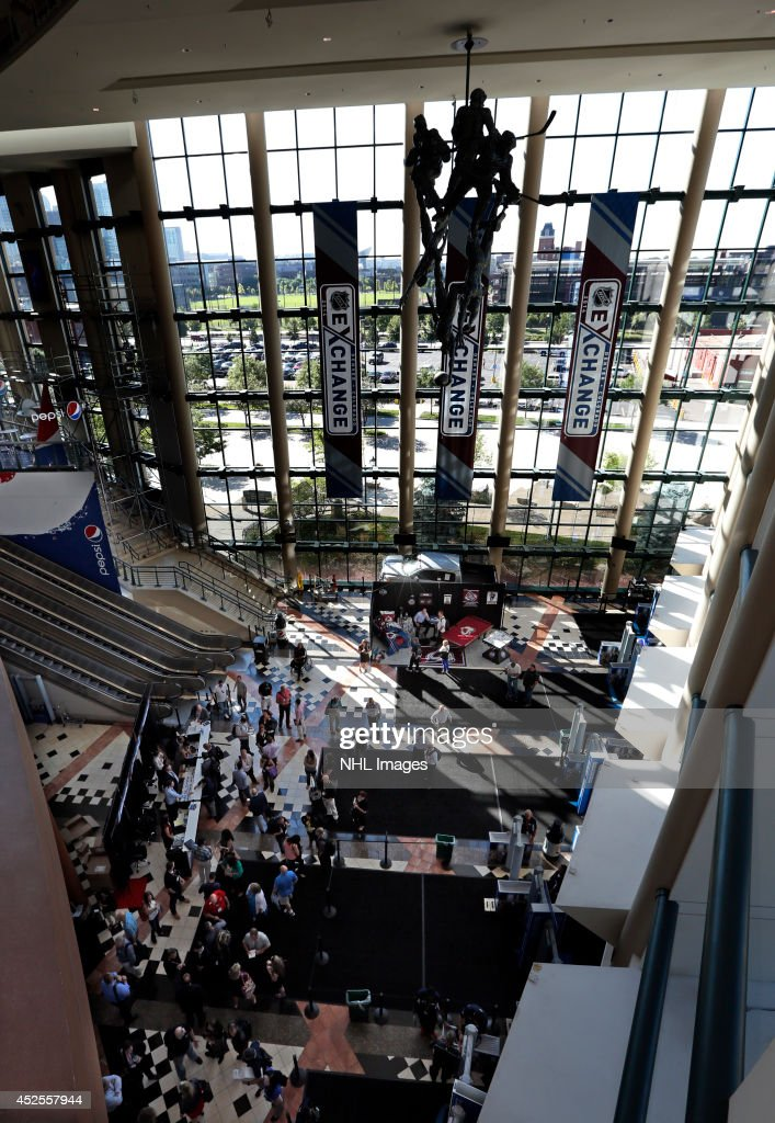 Attendees enter the 2014 NHL Exchange at Pepsi Center on July 22, 2014, in Denver, Colorado.
