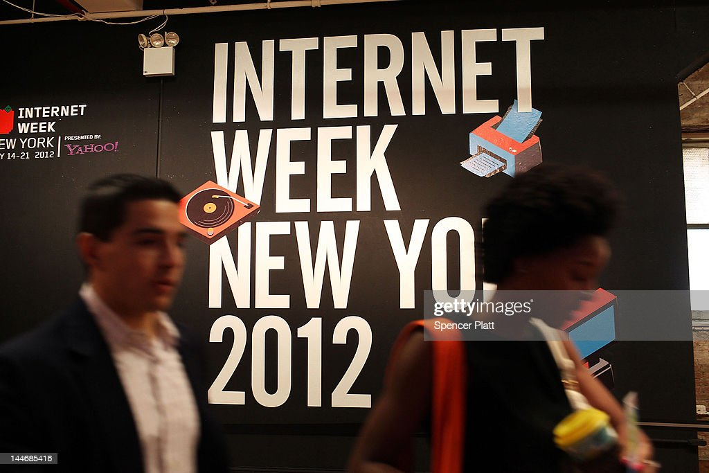 Attendees enter the 5th annual Internet Week New York on May 17, 2012 in New York City. It is expected that some 45,000 people will attend the festival through next Monday. A celebration for digital culture and a showcase for New York City's growing technology industry, Internet Week New York features over 300 events that focus on social media and digiital culture. The event is produced by the International Academy of Digital Arts & Sciences (IADAS), in cooperation with the Mayor's Office of Media and Entertainment.