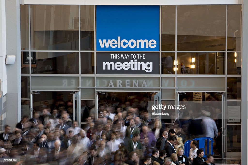 Attendees exit the Berkshire Hathaway Inc. annual shareholders meeting during a break in Omaha, Nebraska, U.S., on Saturday, April 30, 2016. Dozens of Berkshire Hathaway Inc. subsidiaries will be showing off their products as Chief Executive Officer Warren Buffett hosts the company's annual meeting. Photographer: Daniel Acker/Bloomberg via Getty Images
