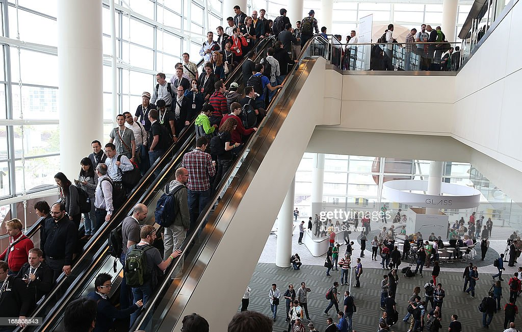 Attendees fill the escalators during the Google I/O developers conference at the Moscone Center on May 15, 2013 in San Francisco, California. Thousands are expected to attend the 2013 Google I/O developers conference that runs through May 17. At the close of the markets today Google shares were at all-time record high at $916 a share, up 3.3 percent.