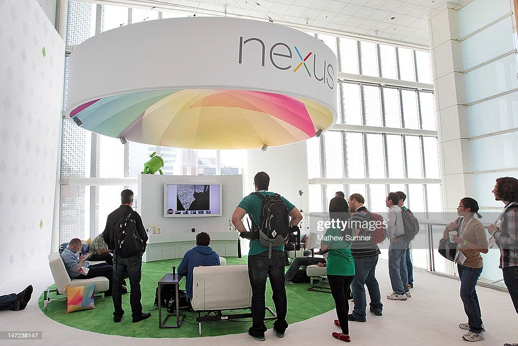 Attendees gather at a display of the Nexus 7 and Nexus Cube at Google's Developers Conference on June 27, 2012 in San Francisco, California. The new Nexus 7 is Google's first tablet, utilizing a 7-inch screen, a Tegra 3 quad-core processor, and will launch next month for $199 running on the latest Android Jelly Bean OS.