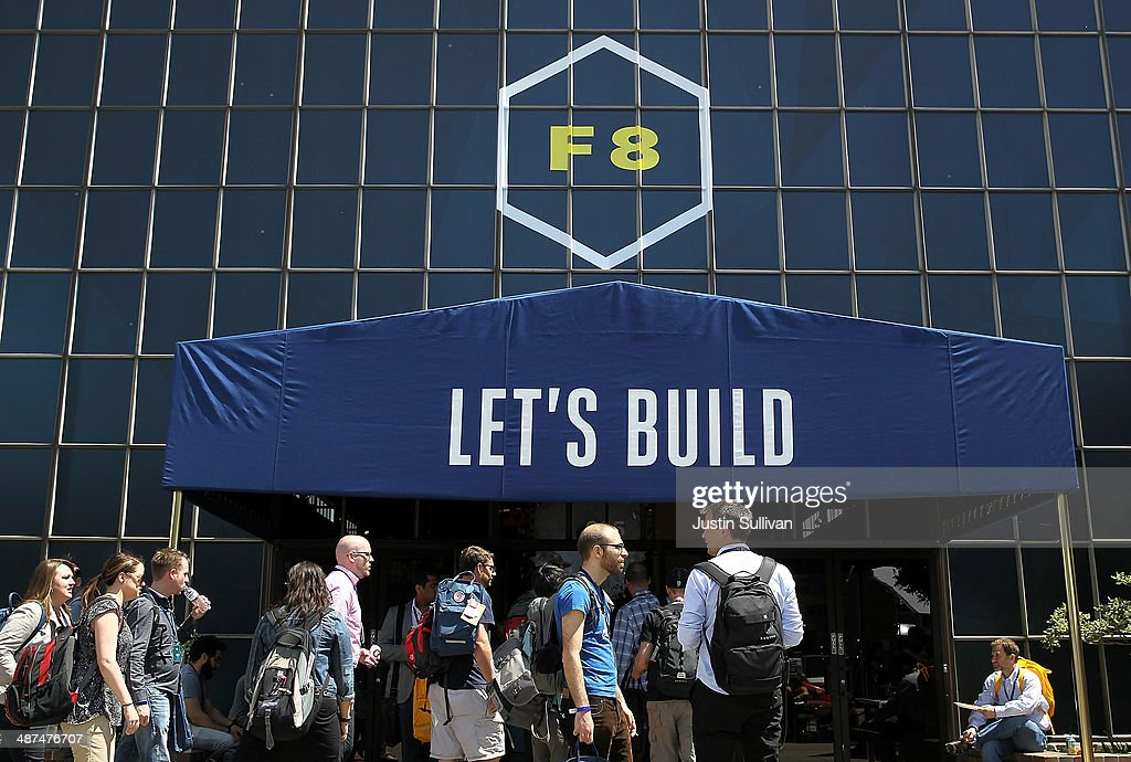 Attendees gather outside of the Facebook f8 conference on April 30, 2014 in San Francisco, California. Facebook CEO Mark Zuckerberg kicked off the annual one-day F8 developers conference.