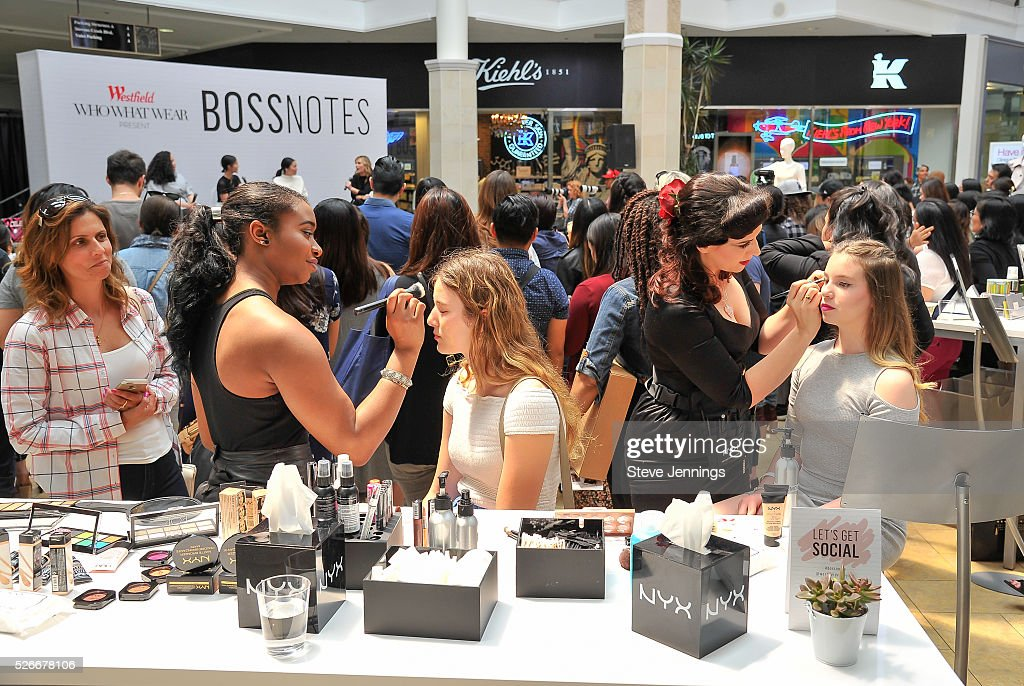 Attendees get make-up at the Westfield x Who What Wear Presents: Boss Notes at Westfield Valley Fair at Westfield Valley Fair on April 30, 2016 in Santa Clara, California.