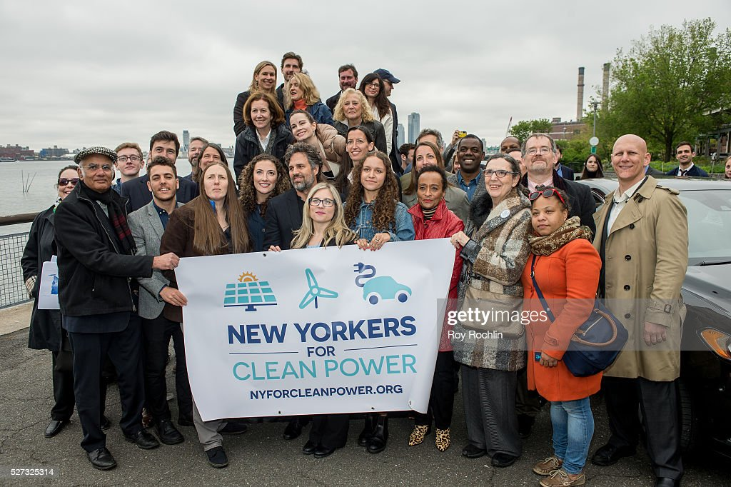 Attendees gorup shot with Mark Ruffalo during New Yorkers For Clean Power Campaign Launch at Solar 1 on May 2, 2016 in New York City.