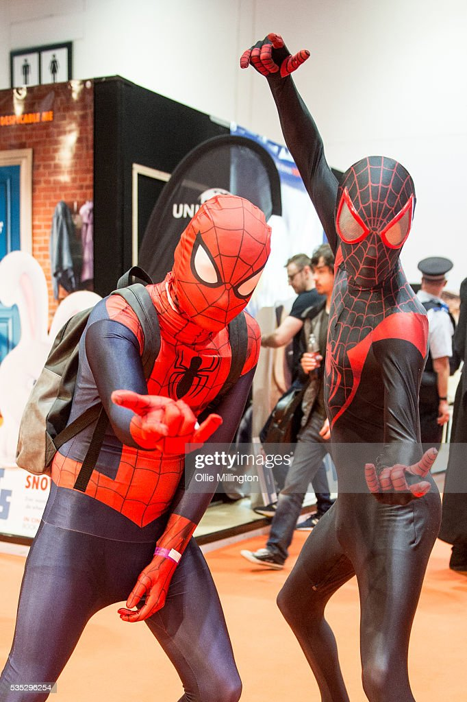 Attendees in costume as Spiderman on Day 1 of MCM London Comic Con at The London ExCel on May 27, 2016 in London, England.