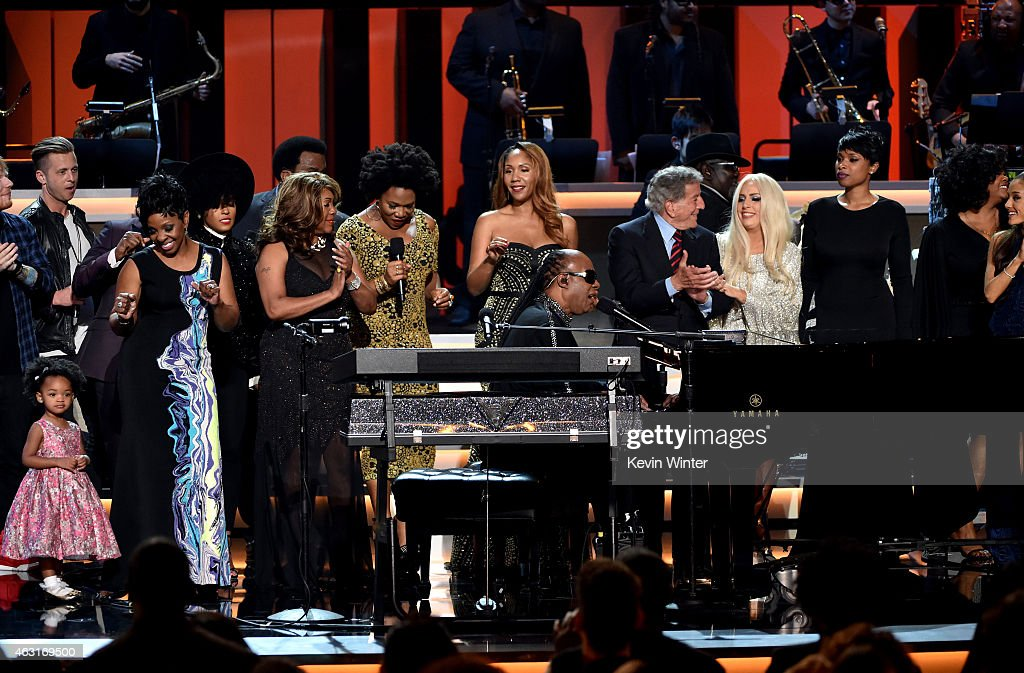 Attendees including recording artists Ryan Tedder, Gladys Knight, Janelle Monae, Mary Wilson, India.Arie, honoree Stevie Wonder, recording artists Tony Bennett, Lady Gaga and Jennifer Hudson perform onstage during Stevie Wonder: Songs In The Key Of Life - An All-Star GRAMMY Salute at Nokia Theatre L.A. Live on February 10, 2015 in Los Angeles, California.