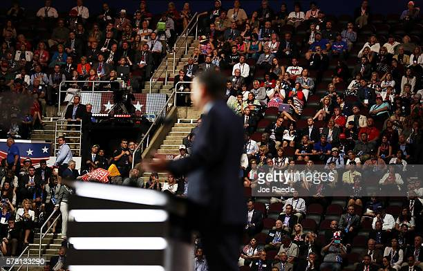 Attendees listen to Sen Ted Cruz deliver a speech on the third day of the Republican National Convention on July 20 2016 at the Quicken Loans Arena...