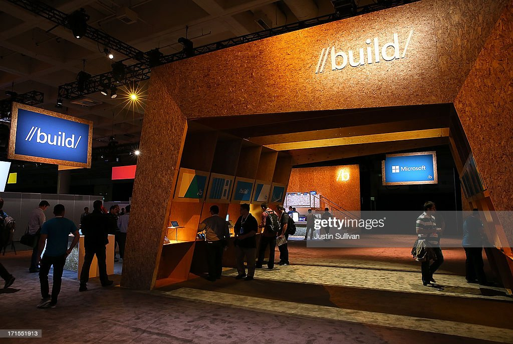 Attendees look at products during the Microsoft Build Conference on June 26, 2013 in San Francisco, California. Microsoft debuted an upgrade to their Windows 8 operating system during the Microsoft Build Conference that runs through June 28.