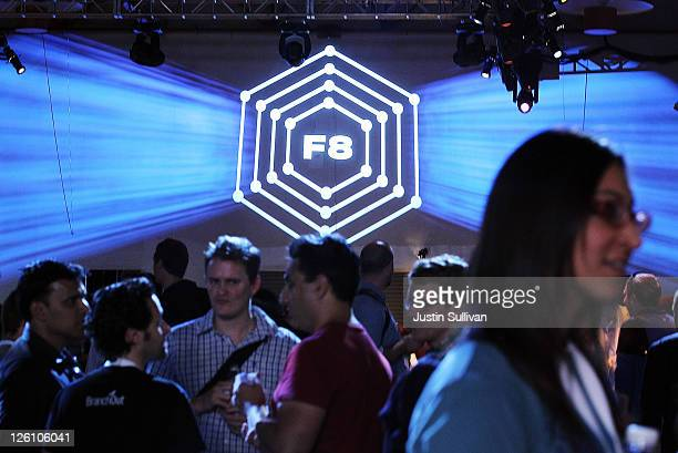 Attendees mingle during the Facebook f8 conference on September 22 2011 in San Francisco California Facebook CEO Mark Zuckerberg kicked off the...
