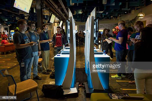 Attendees participate in a hackathon creating new levels for Nintendo Co's Super Mario Maker video game at the Facebook Inc headquarters in Menlo...