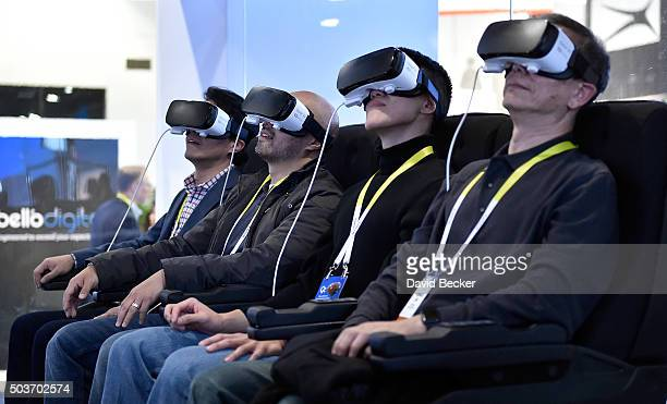 Attendees participate in a Samsung virtual reality experence at CES 2016 at the Las Vegas Convention Center on January 6 2016 in Las Vegas Nevada CES...