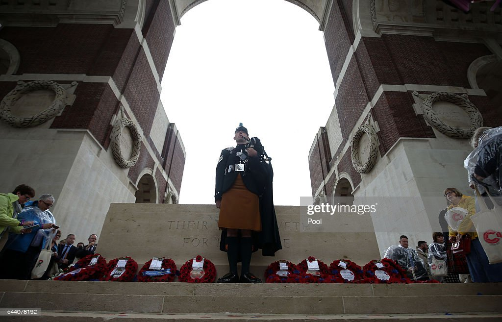 Attendees pay their respects at the Stone of Remembrance during the Commemoration of the Centenary of the Battle of the Somme at the Commonwealth War Graves Commission Thiepval Memorial on July 1, 2016 in Thiepval, France. The event is part of the Commemoration of the Centenary of the Battle of the Somme at the Commonwealth War Graves Commission Thiepval Memorial in Thiepval, France, where 70,000 British and Commonwealth soldiers with no known grave are commemorated.